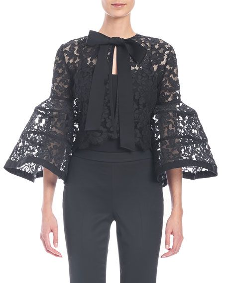 "Carolina Herrera floral-lace jacket. Approx. 18.5""L down center back. Jewel neckline; hidden button front. Three-quarter bell sleeves. Slim silhouette. Scalloped, cropped hem. Cotton/nylon/viscose. Li"