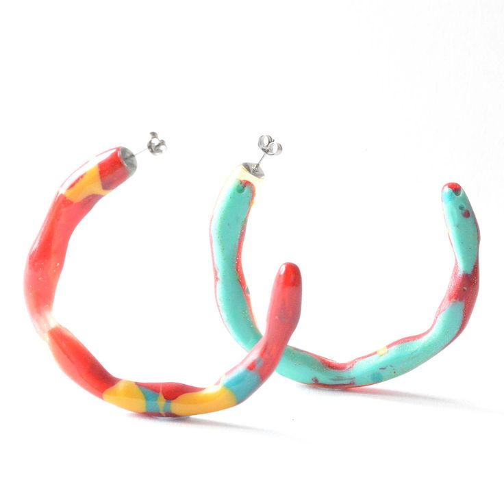 Skinny Organic Resin Hoops-Large Size - One of a kind, -Assorted Colours by FlockCurioAssembly on Etsy