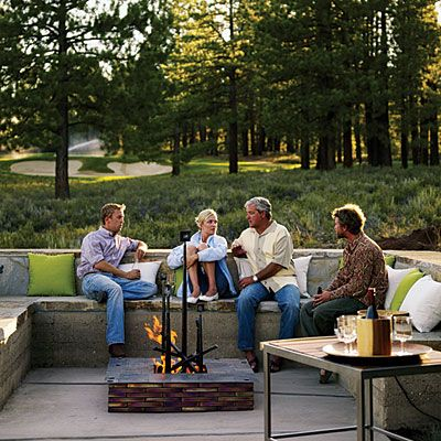 love the look!Fire Pits, Ideas, Outdoor Seats, Outdoor Living, Outdoor Sofas, Outdoor Lounges, Rammed Earth, Firepit Appearances, Benches Seats