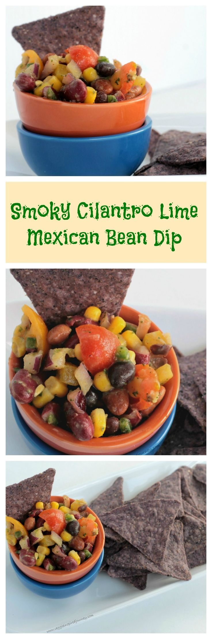 Smoky Cilantro Lime Mexican Bean Dip - hearty, healthy and full of flavor! The perfect dish to bring to a potluck, BBQ or any gathering! As delicious as a salad as it is a dip with chips!