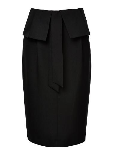 Polyester Paper Bag Waist Skirt. Comfortable yet neat fitting silhouette features a paper bag waist with tie and midi hem. Available in Black as shown.