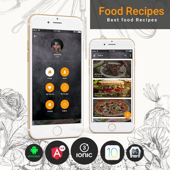 ionic theme for food Recipes app Template based on ionic 3 ,Angular