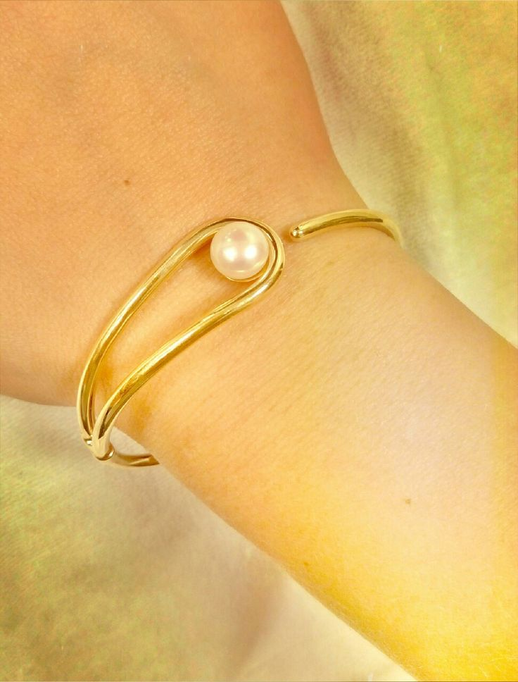 gold bracelet with pearl 14k