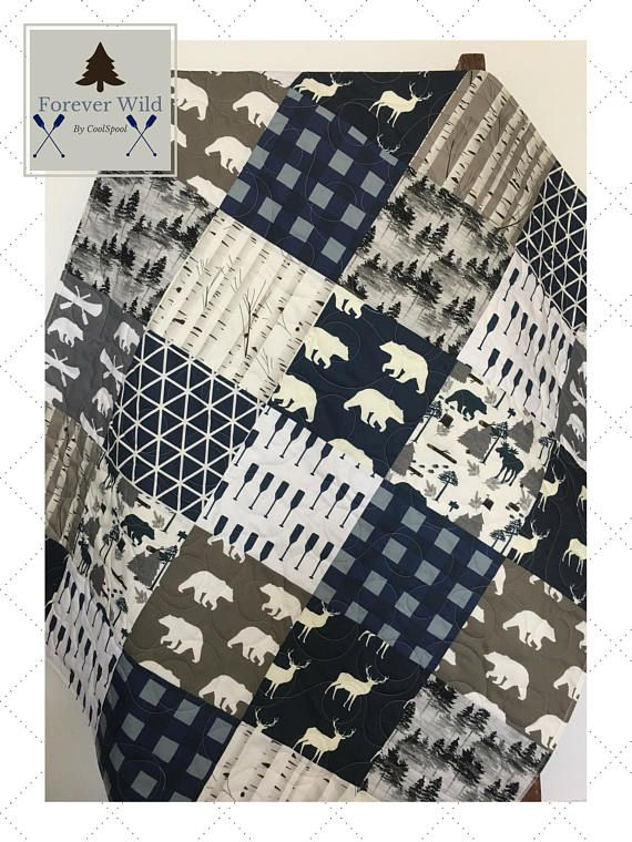 Navy Plaid Boy Quilt Woodland Crib Bedding Navy Gray Baby