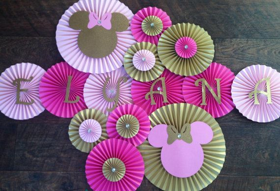 Minnie Mouse Themed Paper Rosettes Minnie Mouse by LanvisB on Etsy