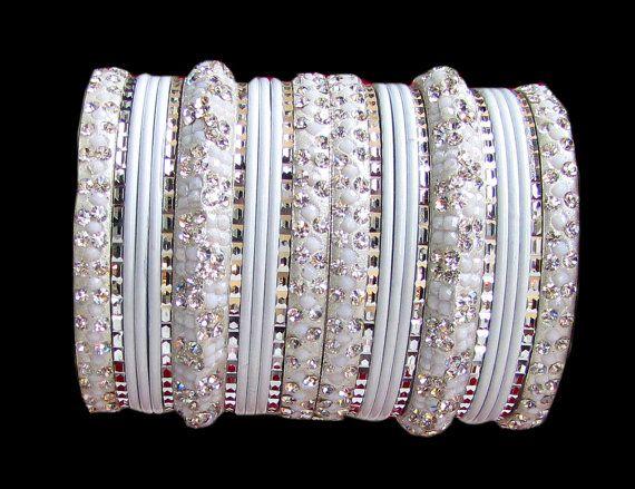 #Bangles Indian #Designer #Bollywood #Diamante White by Shoppingover