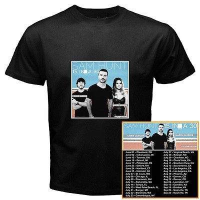 Sam Hunt 15 in a 30 summer tour dates 2017 black tshirt tees; Material 100% cotton, Basic style; Short sleeve;