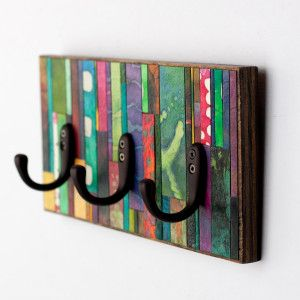 Wall Coat Rack Colorful Mosaic Striped Handmade Paper Reclaimed Wood