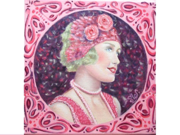 Peinture portrait jeune femme années folles huile sur toile : Peintures par mgdecors