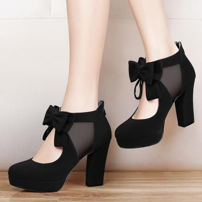 5542a87bc7ae00 New Round Toe Fashion Style Vintage Retro Style Woman Bow Platform Pumps  Lady s Sexy High Heeled Shoes Women