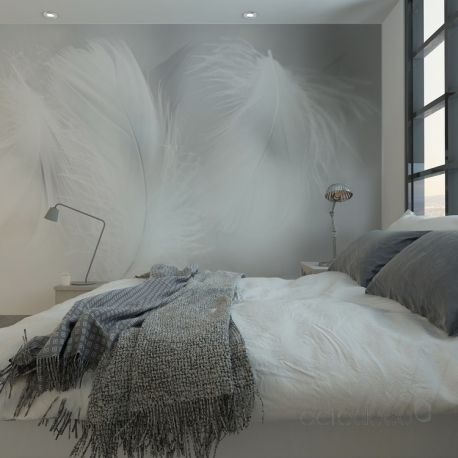 papiers peints plumes 02 nb en 2019 cocooning interior. Black Bedroom Furniture Sets. Home Design Ideas
