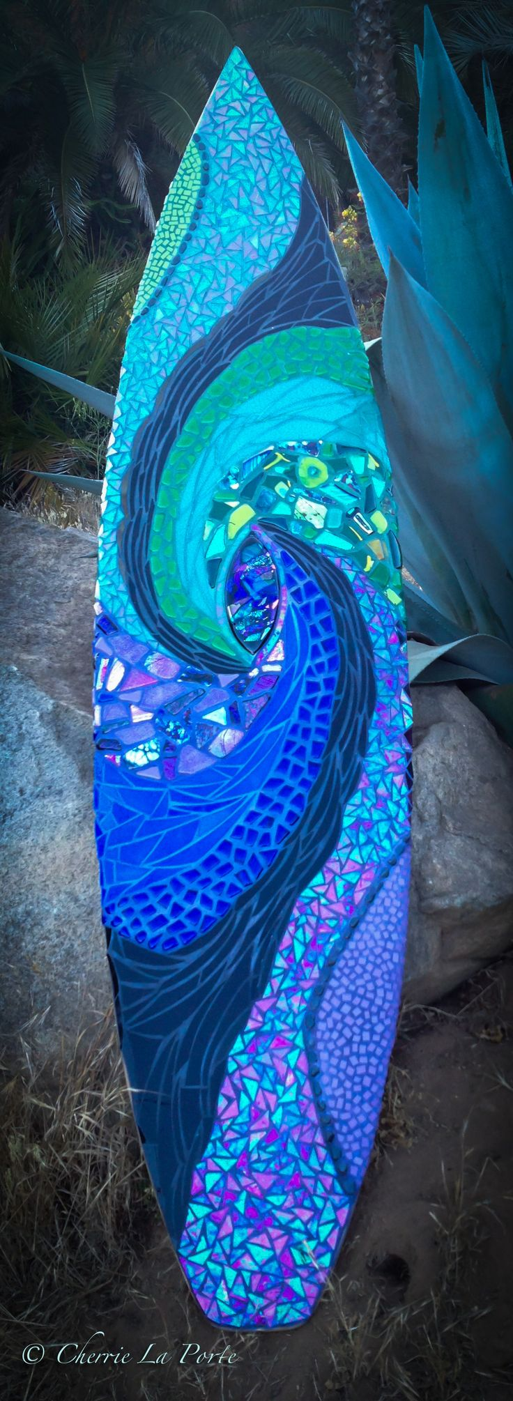 Kaleidoscope of the Sea custom surfboard by Cherrie LaPorte in private home collection of client in Southern CA. www.cherrielaporte.com