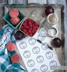 DIY Jam Jar Labels - Print on full sheet adhesive labels http://www.onlinelabels.com/ol713.htm and use a 2 inch hole punch http://pinterest.com/pin/145241156704541753/