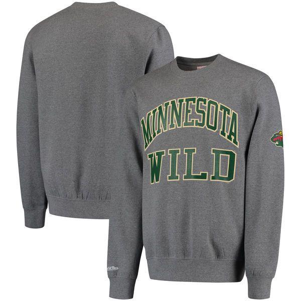 Minnesota Wild Mitchell & Ness Start of the Season Tailored Fit Crewneck Sweatshirt - Gray - $44.99