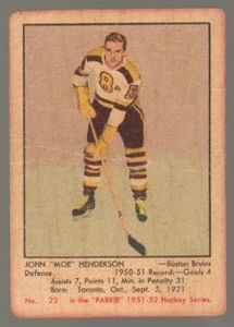 #23 John Henderson (1951-1952) - Parkhurst Products Ice Hockey card. New on http://colnect.com/sports_cards
