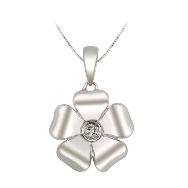.04CT IN STERLING SILVER AND DIAMOND FLOWER PENDANT 18 INCHES - Michaels Jewelers
