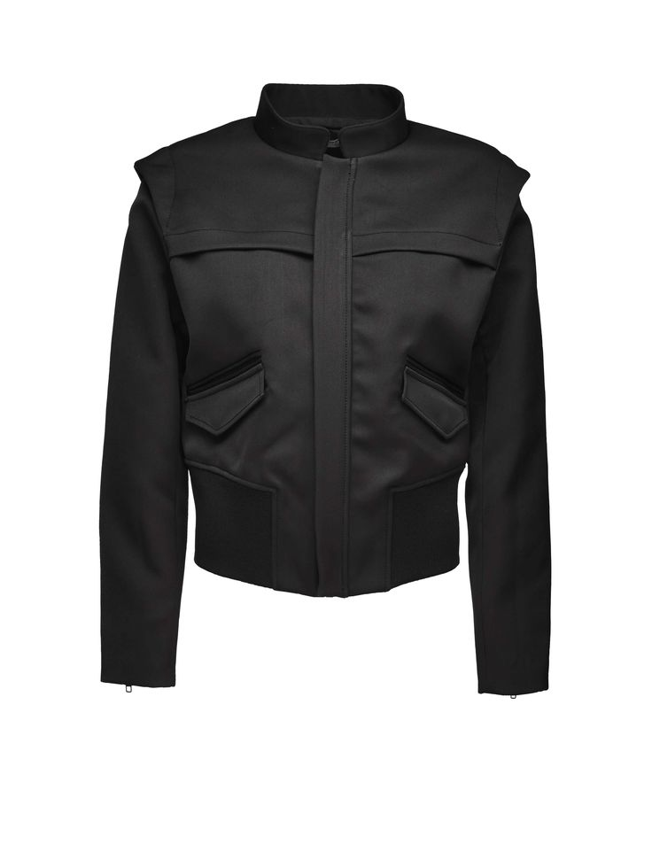 Oma jacket - Women's cropped jacket in double satin fabric. Features concealed zip closure at front with heavy metal zip. Stand up collar at neck and thick ribbed sections at bottom hem. Two double welt pockets with pocket flaps with press stud closure. Zips at cuffs. Slim fit.