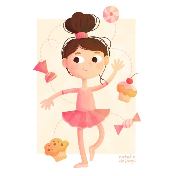 Маленькая балерина #ballerina #sweets #pink #illustration