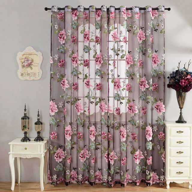 Flower Curtain Transparent Tulle Curtains Window Screening Treatments Living Room Children Bedroom Yellow Purple Sheer Curtain