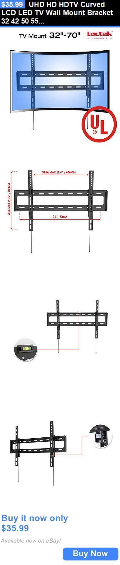 TV Mounts and Brackets: Uhd Hd Hdtv Curved Lcd Led Tv Wall Mount Bracket 32 42 50 55 60 65 70 Loctek R1 BUY IT NOW ONLY: $35.99