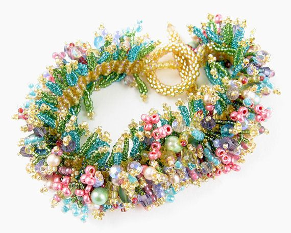 Spring Bracelet instant download pattern, offloom weave & peyote stitch, fringe decorations, easily sized to fit anyone, links to tutorials by AnnBensonBeading