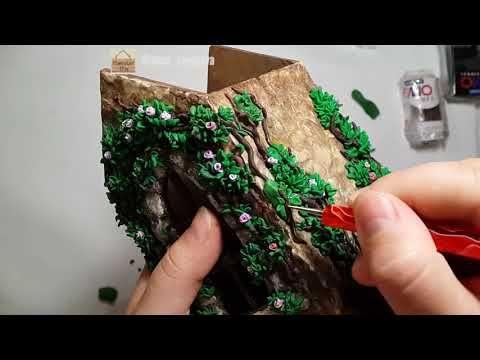 Процесс. Леплю листики, веточки для Чайного домика - YouTube
