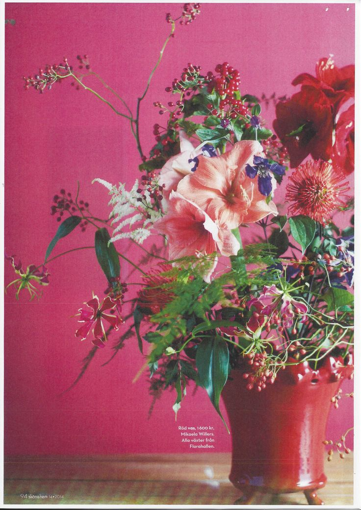 From the Swedish interior magazine Sköna Hem - A beautiful bouquet in a red faster Elsa vase, by Mikaela Willers