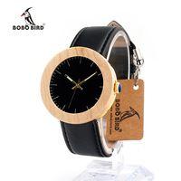 Бобо птица J29J30 Простые Модные бамбука сосновый деревянные и стали Кварцевые часы мягкий кожаный ремешок в деревянной коробке как подарок д...