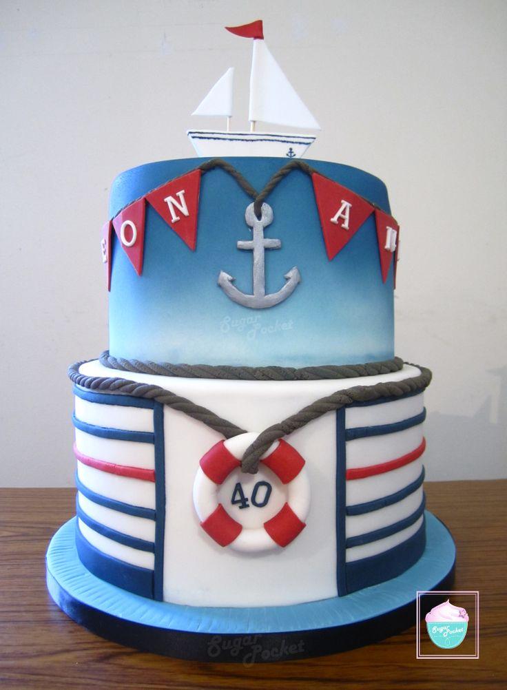 #cake #tiered #nautical #birthday #sea #style #daytoremember #sugarpocket #boat #stripes #rope #anchor #blue #bunting