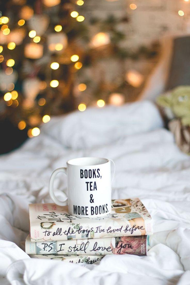 Books, tea, books and twinkle lights! the faithful reader : Photo