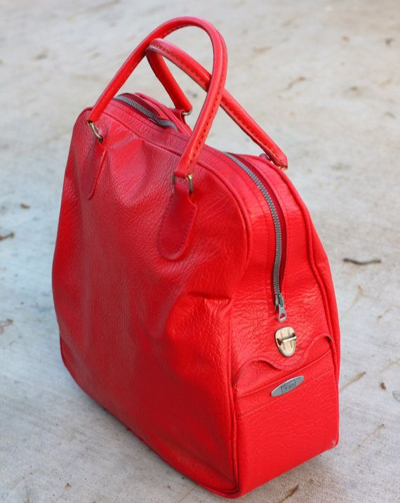 celine bag beige - Awesome Bright Red Sears Satchel / Tote / Carry-On / Overnight Bag ...