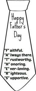 Printable poem for Father's Day tie card.