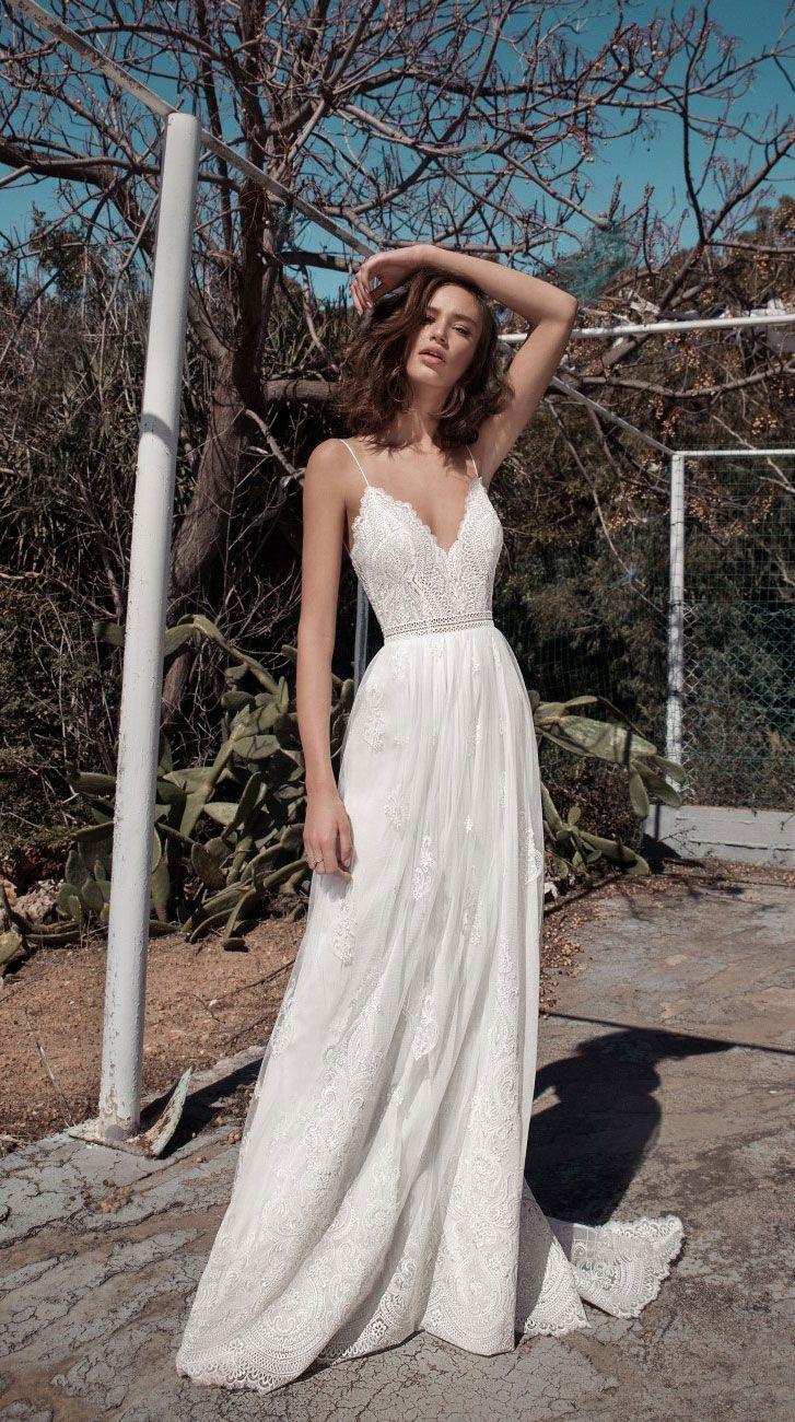 bridal Sleeveless spaghetti strap V neckline heavily embellished bodice bohemian…