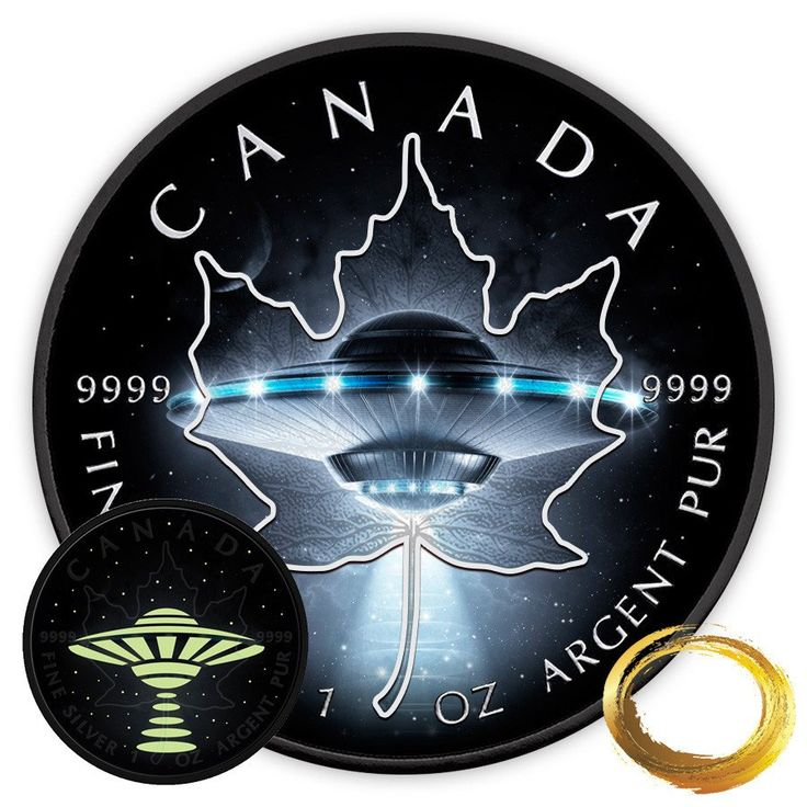 2017 RCM 1 Ounce Glow in the Dark UFO Maple Leaf Silver Coin Set
