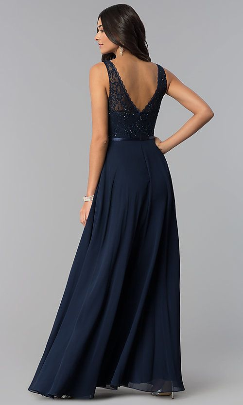 342fab6f08e Image of sleeveless lace-bodice v-neck long formal dress. Style  DQ-2267  Back Image