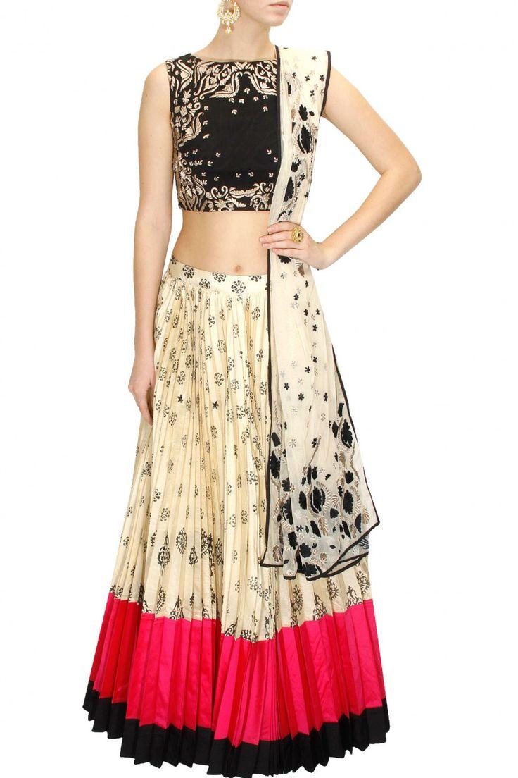Astha Narang's black and cream block print sequins embellished lehenga set