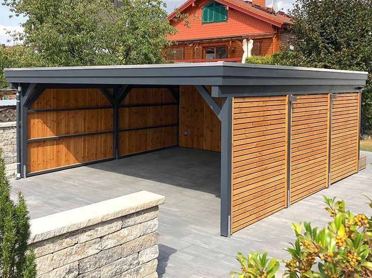 Carport Made Of Wood With Flat Roof Carport Aus Holz Mit Flachdach Carport Made Of Wood With Flat Roof Cont Wooden Carports Carport Designs Wooden Garage