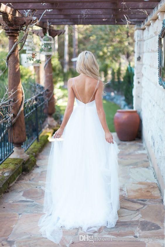 2016 Romantic White Wedding Gown Spaghetti Straps Sweetheart Tulle Dress Bride Lace Backless Girls Summer Beach Bridal Gowns Wedding Dresses Debenhams Wedding Dresses Prices From Dressonline0603, $158.78  Dhgate.Com
