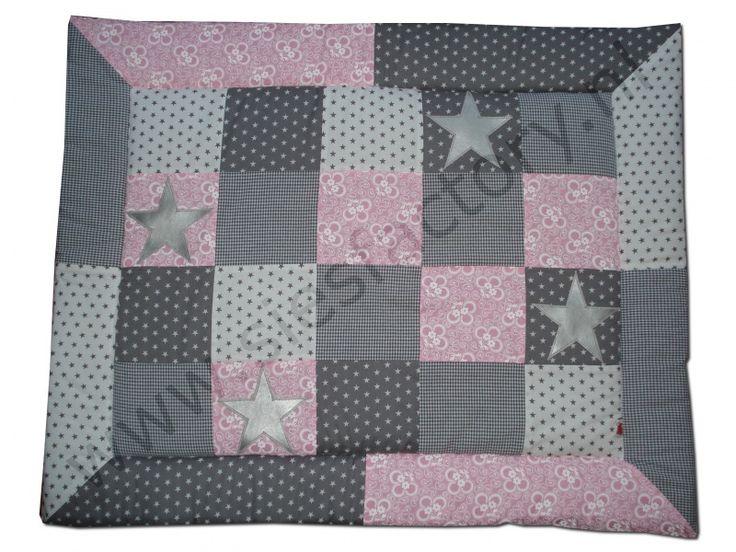 Boxkleed licht roze grijs en wit met zilveren sterren boxkleden sies factory boxkleed - Kinderkamer grijs en roze ...