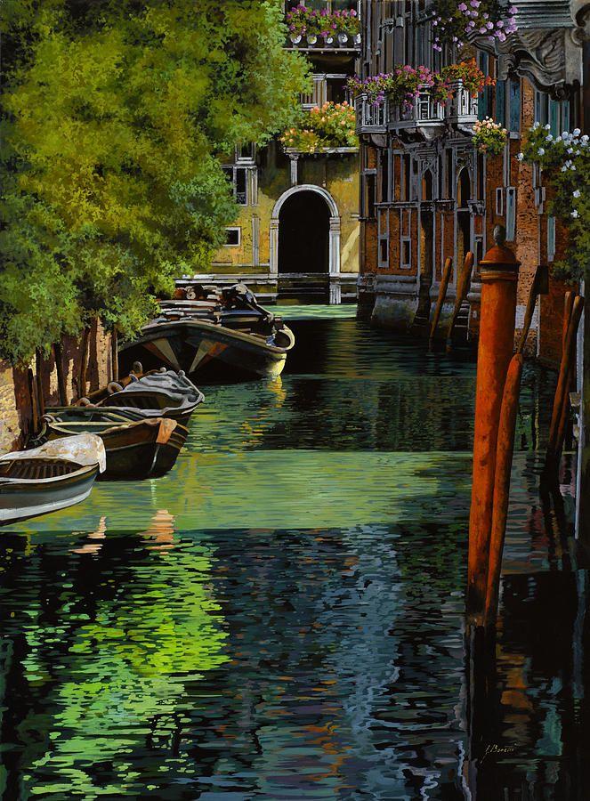 il palo rosso a Venezia Painting  - il palo rosso a Venezia Fine Art Print