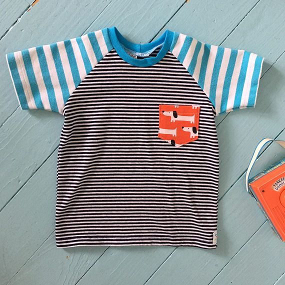 Striped Upcycled Toddler T-shirt - Striped Raglan Tee - Dachshund Tee - 12-18 Months - Recycled Kids Clothes - Toddler Boy Gift - Baby Boy