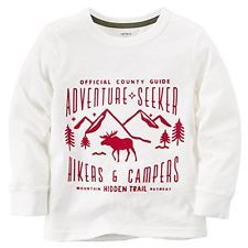 "Carter's Boys Winter Hike Long-sleeved shirt ""Adventure Seeker"" White Sz 4 NWT"