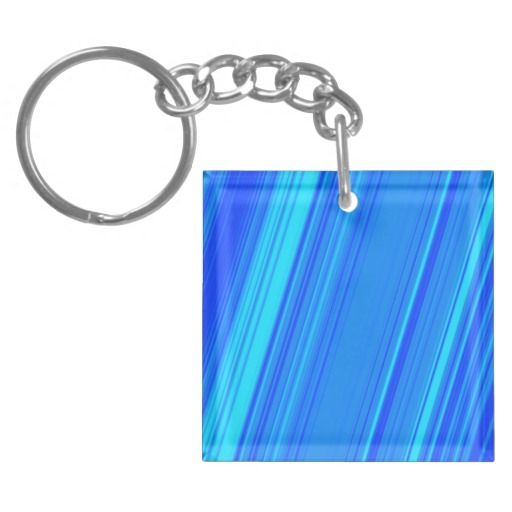 Blue and Cyan Lines Pattern Keychain