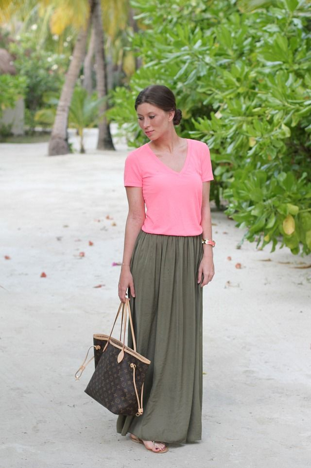 neon shirt + olive maxi skirt outfit -- The Skirt!!