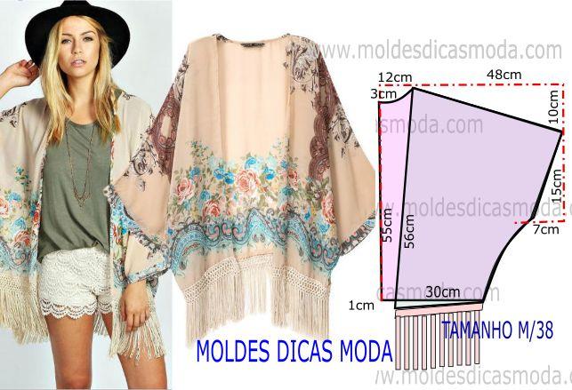Este modelo de casaco é um pedido expresso de uma seguidora da página, este molde de casaco hippie tem o tamanho M que corresponde ao numero 38 e 40.