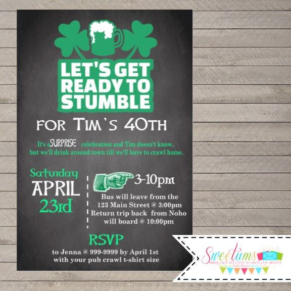 Let's Get Ready to Stumble Invitation, Pub Crawl party invitations