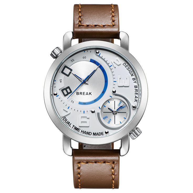Breken Nieuwe Mannen Unieke Sport Style Dual Tijdzone Quartz Horloges Top Lederen Band Waterdicht Mode Horloges Voor Jongen in  GRATIS VERZENDING!    voorVERENIGDE STATEN gebruiken we EPACKETschip de product vrij, die sneller en veiliger.    klant van quartz horloges op AliExpress.com   Alibaba Groep