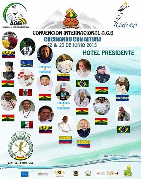 """La 1ra. Convención """"cocinando con altura"""" organizado por la Asociación de Gastrónomos de Bolivia """"AGB"""" que tendrá lugar en la ciudad de La Paz – Bolivia Un evento sin precedentes es lo que marcara la diferencia al reunirse chef de renombres para compartir; aromas, tradiciones, cultura, colores y sabores  así como la participación del chef Internacional Roberto Rabotti Detallista, alegre y carismático, así, es este Chef Italiano ,"""