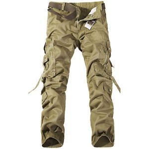 Mens-Cotton-Casual-Military-Army-Cargo-Camo-Work-Trousers-Pants-R48-No-Belt