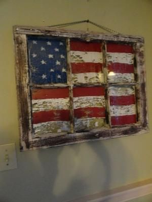 Pallet Projects : A Flag Made From Pallets And An Old Window Frame by gloriaU